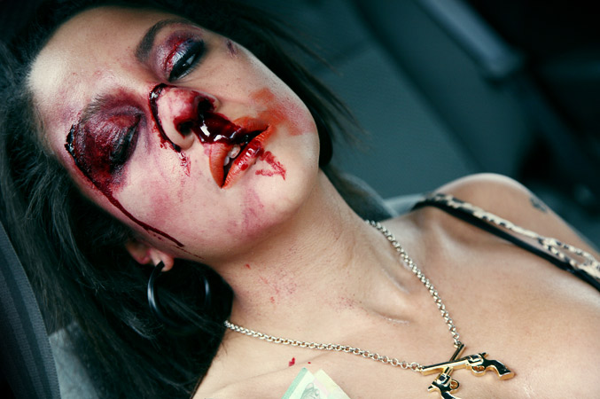 Car accident, broken nose blood makeup by Anna Leidy Jacobsson